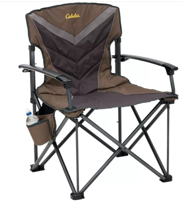 A brown/gray chair that reads Cabela's on the back and has a water bottle holder