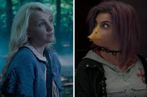 Luna Lovegood is on the left with a woman who is turning into a duck
