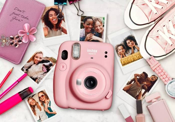 The pink fujifilm displayed by photos