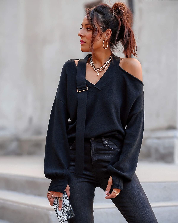 Same model wearing the sweater in black