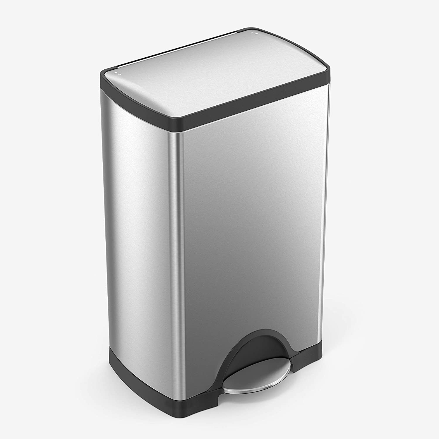 the stainless steel trash can with a foot pedal