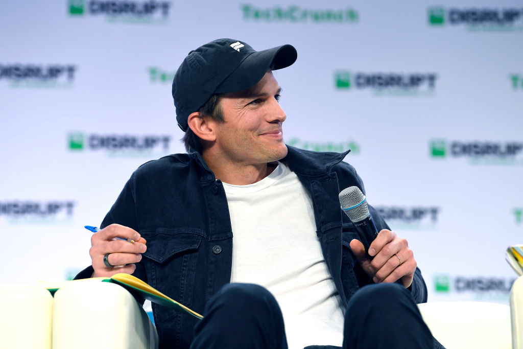 Ashton Kutcher speaks onstage during TechCrunch Disrupt San Francisco 2019