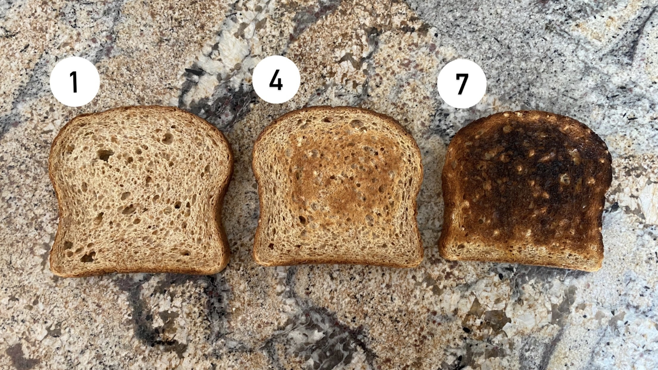 the toast at three different levels of doneness, 1, 4, and 7