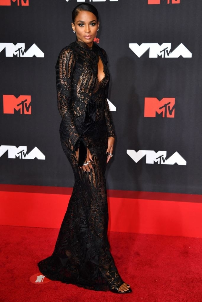 Ciara on the red carpet in a black lace gown