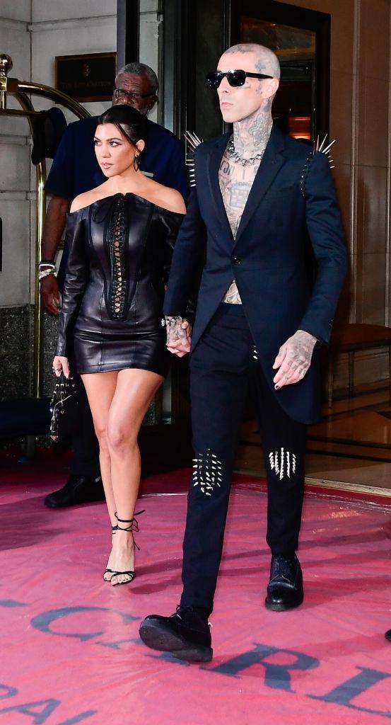 Kourtney Kardashian and Travis Barker seen at the Ritz-Carlton Hotel