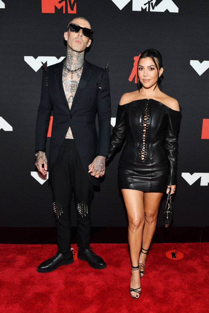 (L-R) Travis Barker and Kourtney Kardashian attend the 2021 MTV Video Music Awards
