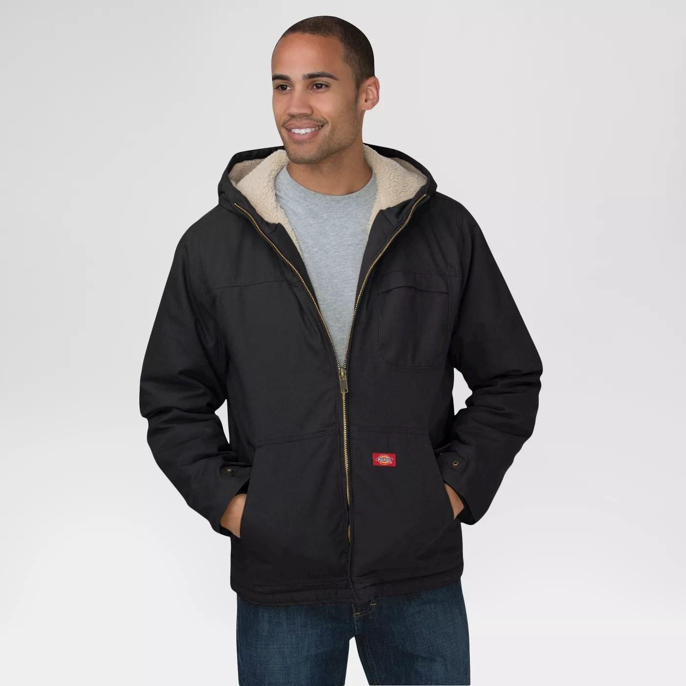 Black work jacket with hoodie