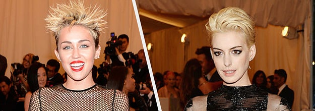 Anne Hathaway in a sheer lace gown with long, feathered sleeves, Miley Cyrus in a nude-look gown covered in a dark mesh