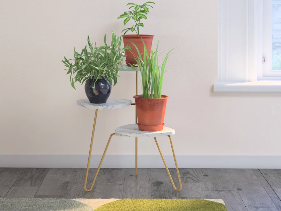 The plant stand with a plant on every tier