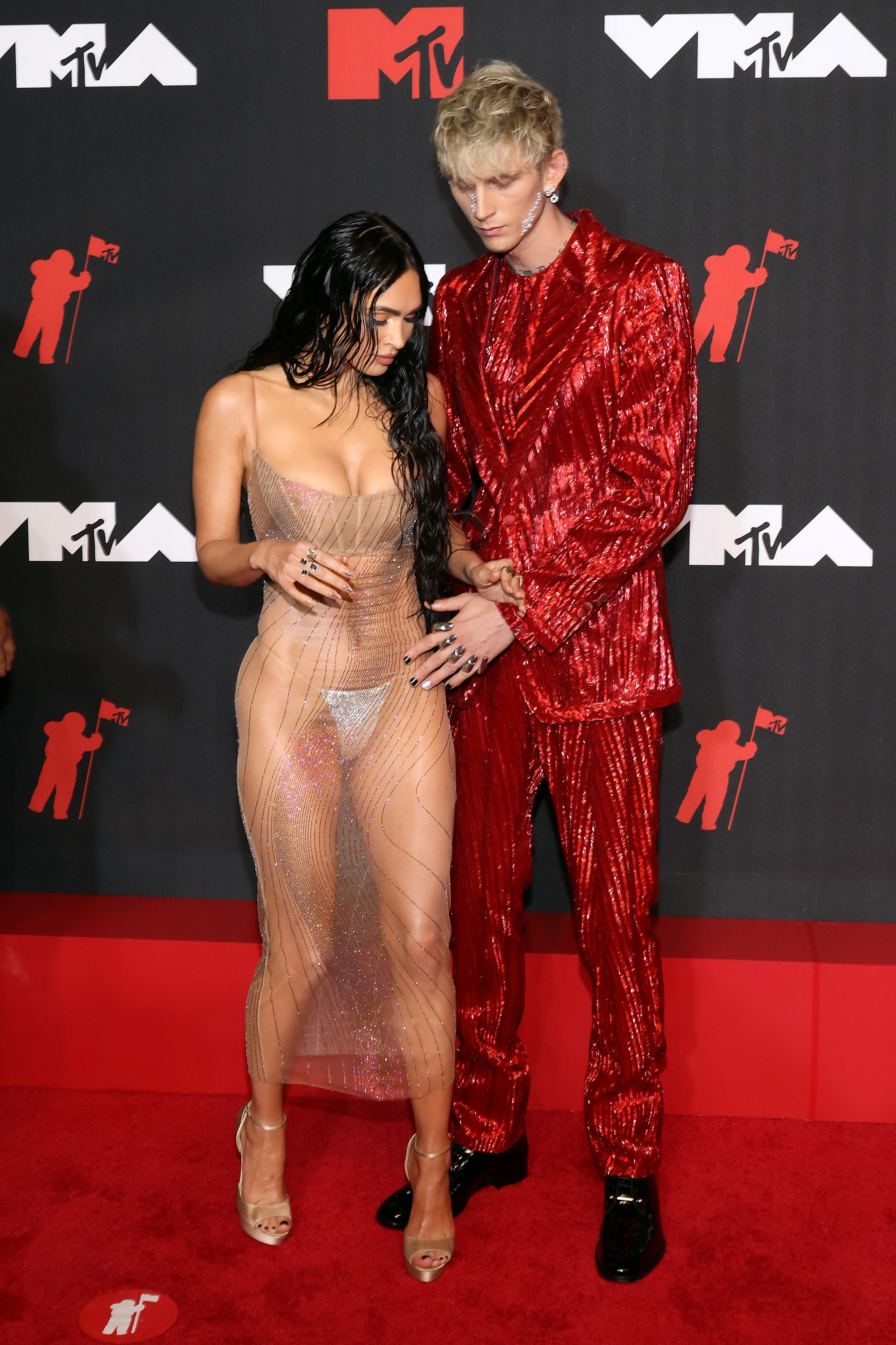 Megan Fox and Machine Gun Kelly attend the 2021 MTV Video Music Awards at Barclays Center