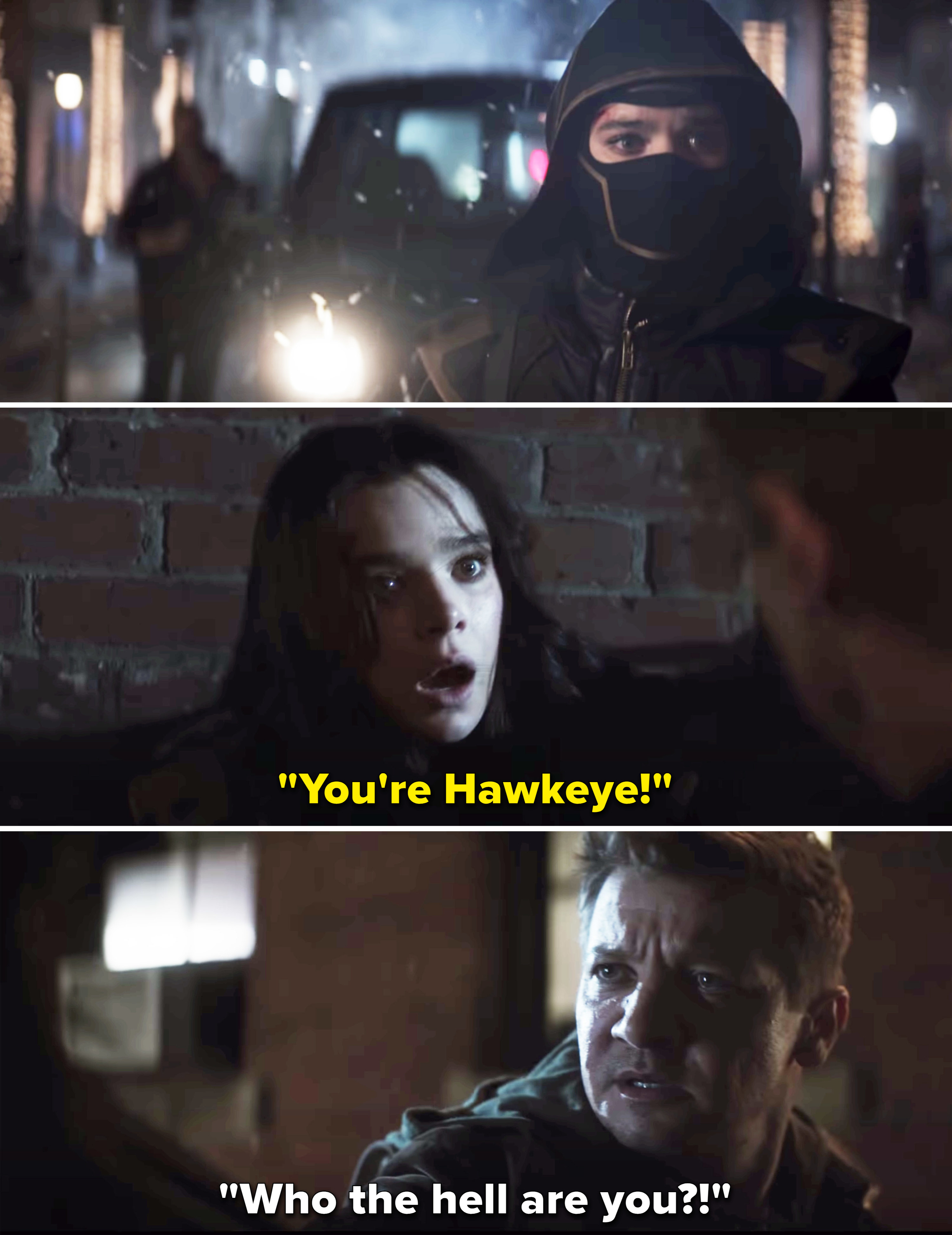 """Kate says """"You're Hawkeye!"""" after Clint unmasks her and he asks """"Who the hell are you?"""""""