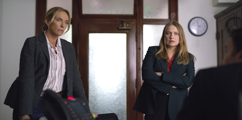 Toni Collette and Merritt Weaver ask a man questions