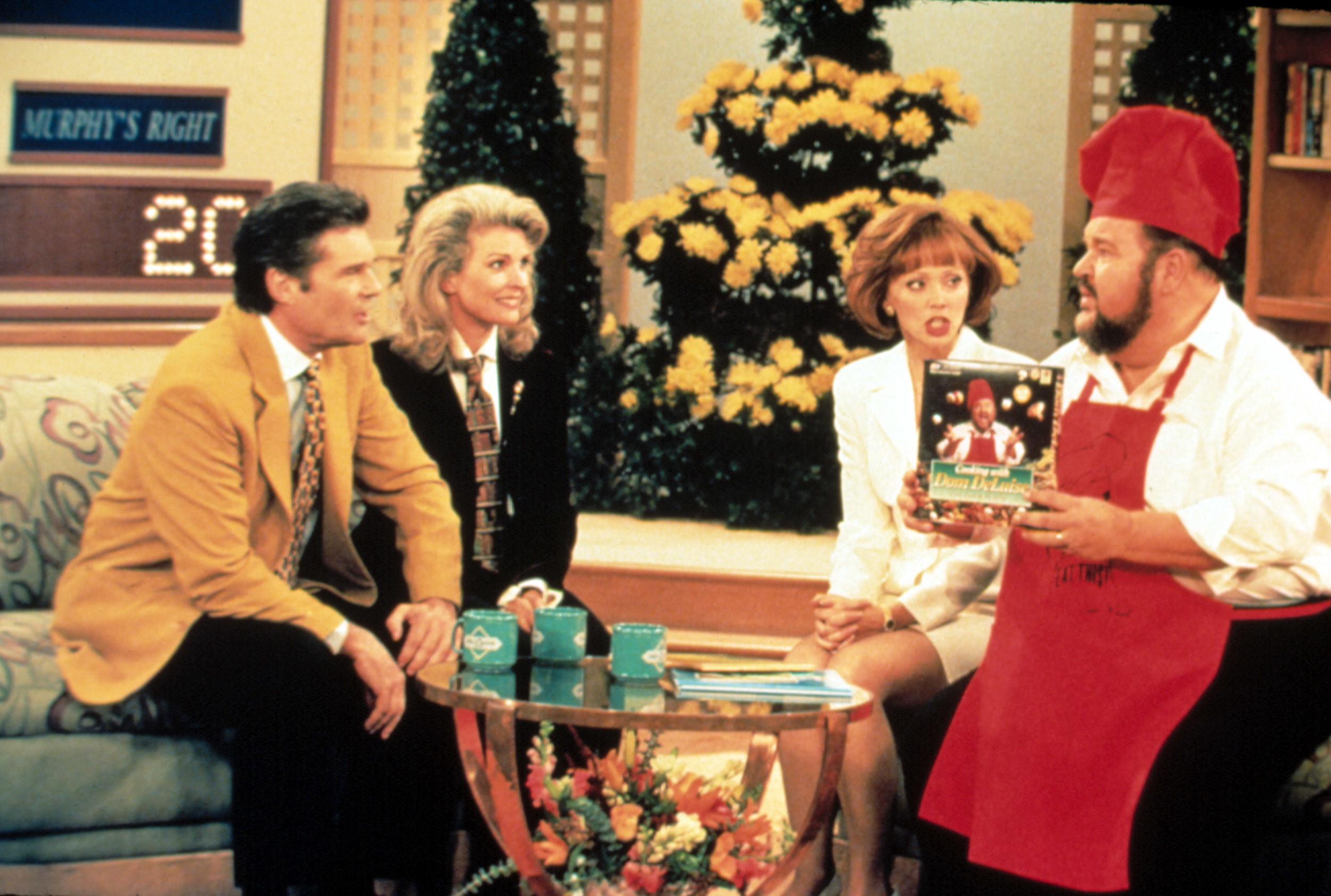 Fred Willard and Candice Bergen interview Shelley Long and Dom DeLuise on a talk show