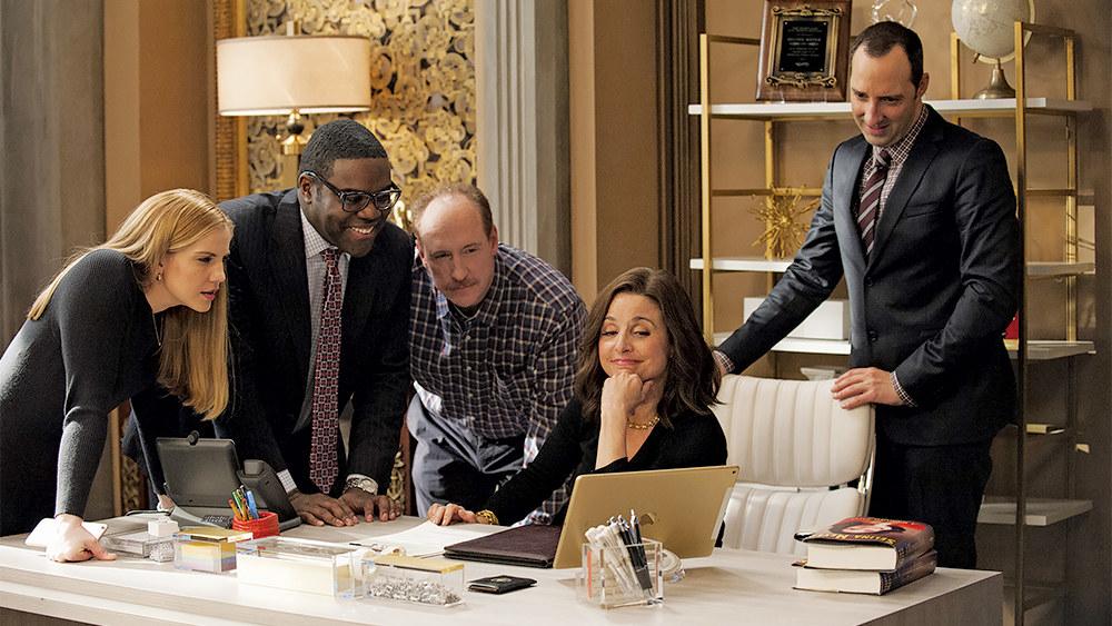 Anna Chlumsky, Sam Richardson, Matt Walsh, and Tony Hale gather around Julia Louis-Dreyfus at her desk