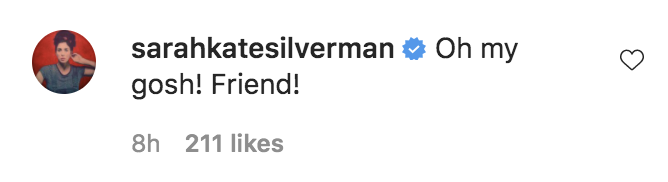"""A social media comment from Sarah: """"Oh my gosh! Friend!"""""""