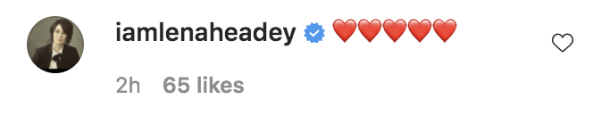 A social media comment from Lena with five heart emojis