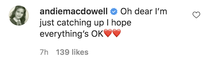 """A social media comment from Andie: """"Oh dear I'm just catching up I hope everything's OK"""""""