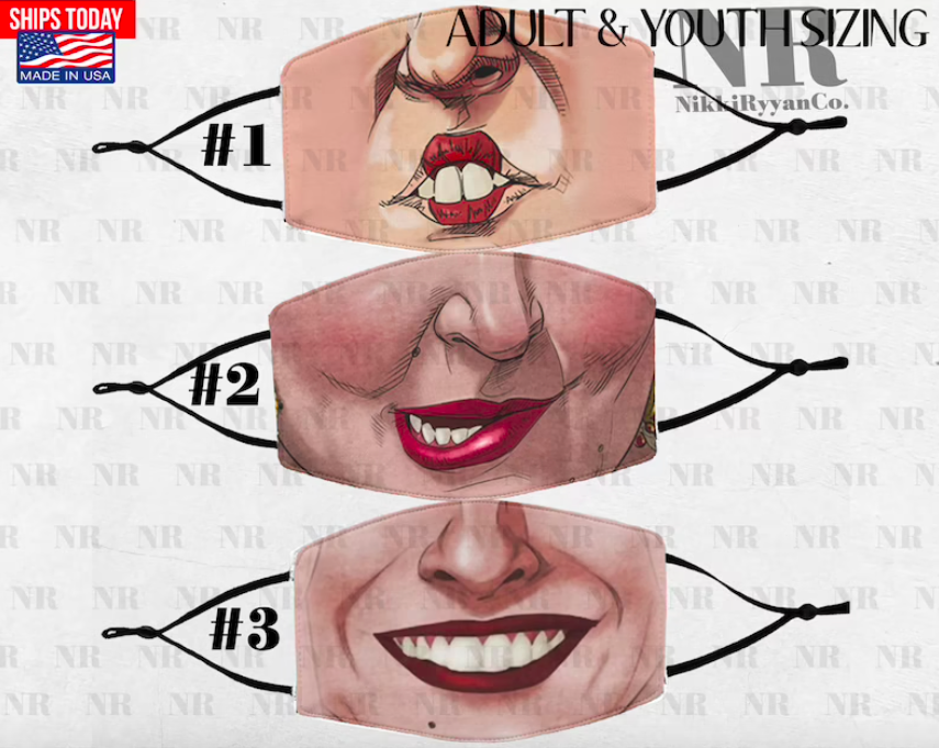 The three face masks, one with each of the mouths of the witches from the movie Hocus Pocus