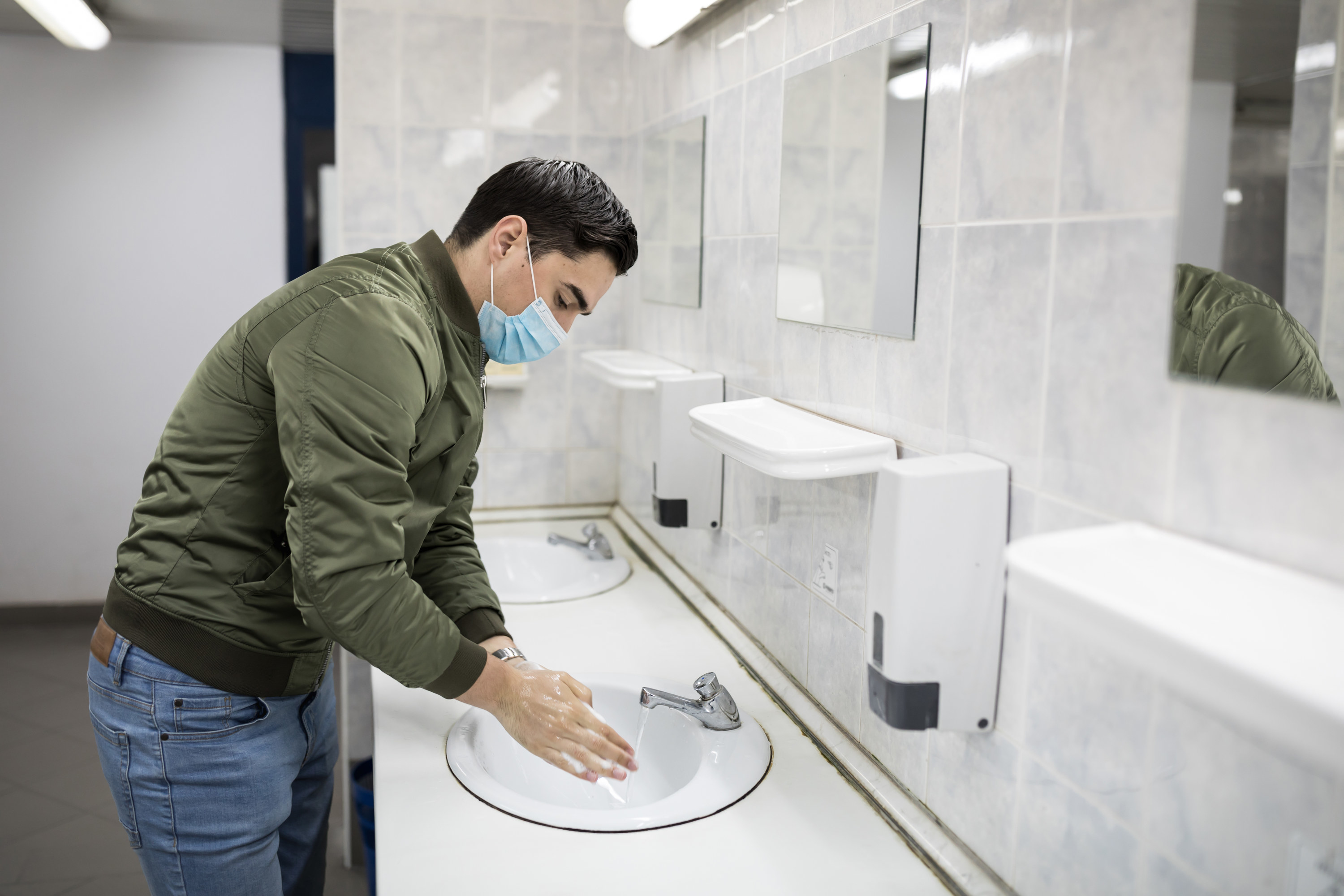 A man washing his hands
