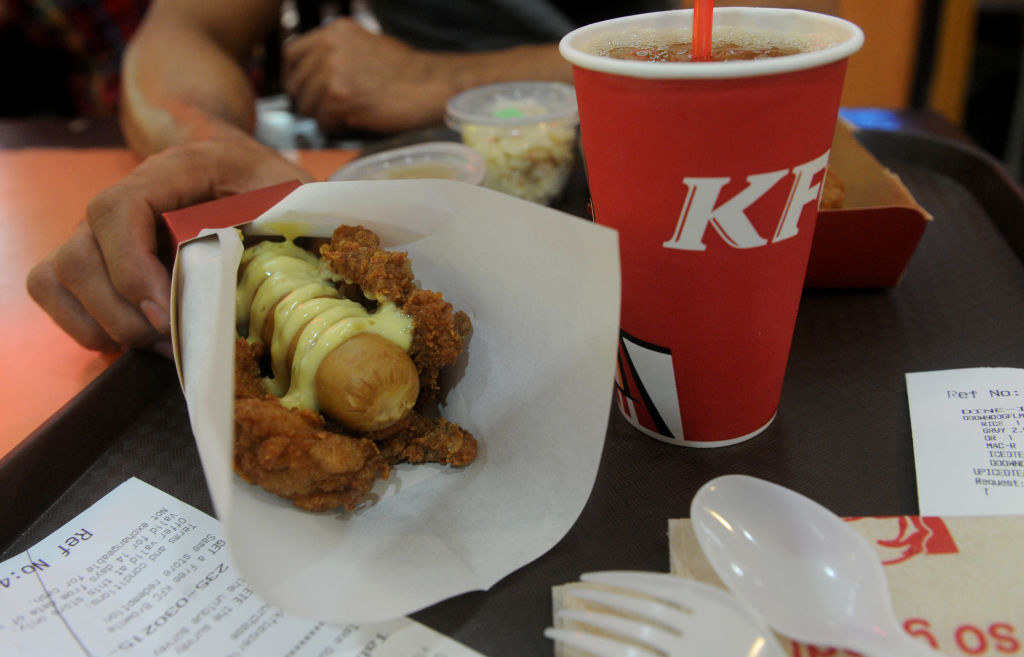 A double down hotdog inside a fried chicken bun.