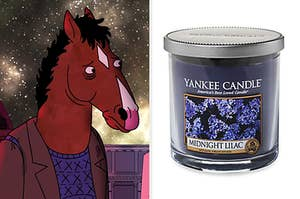 bojack on the left and a midnight lilac candle on the right