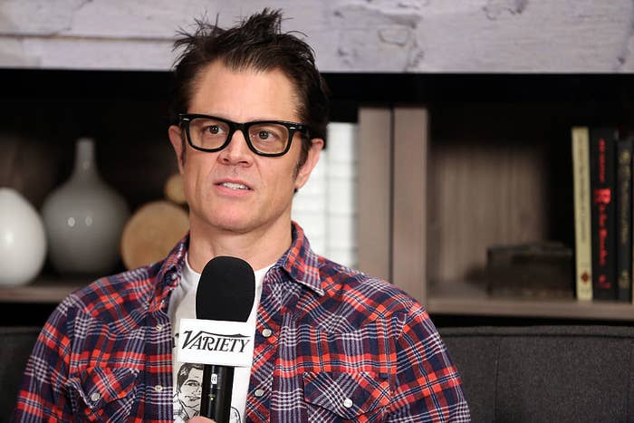 Johnny Knoxville speaking during an event