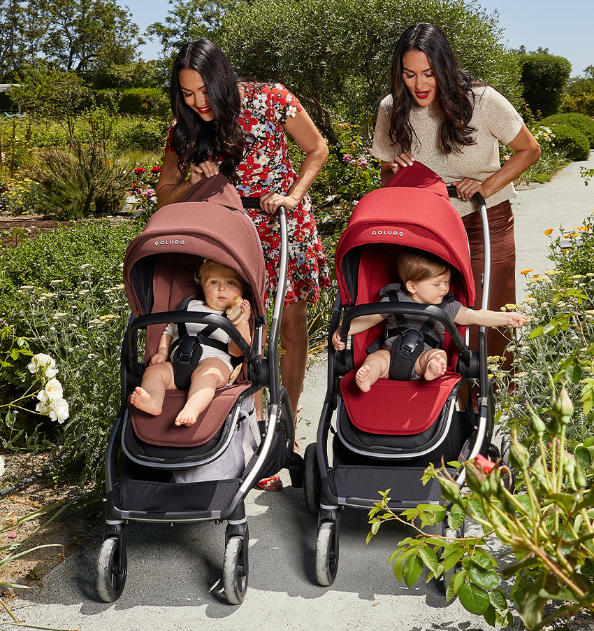 the bella twins pushing their kids in the strollers