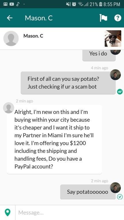 person making a scammer say potato