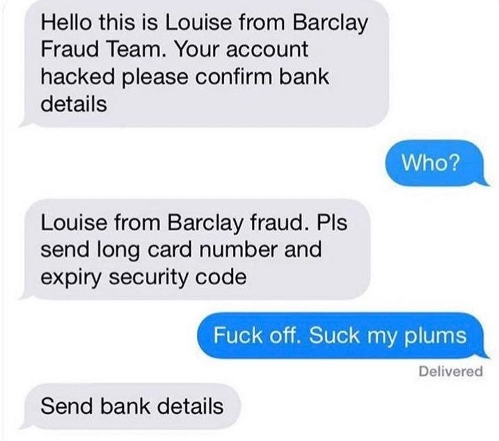 person telling a scammer to suck their plums