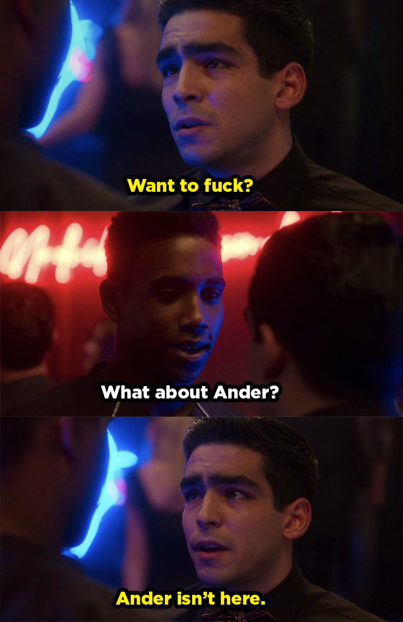 """Omar asks Malick if he wants to hook up and Malick asks what about Omar's boyfriend Ander. Omar replies, """"Ander isn't here."""""""