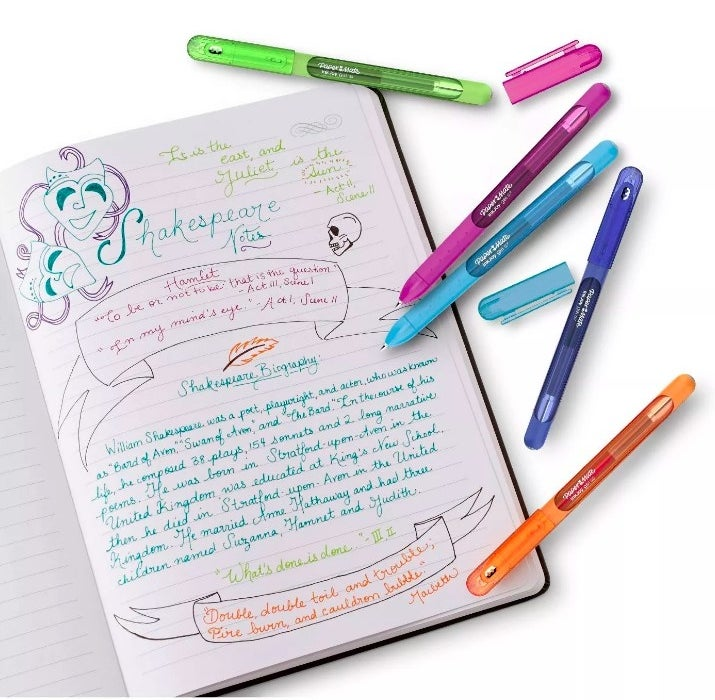 The gel pens used to take colorful notes on Shakespeare