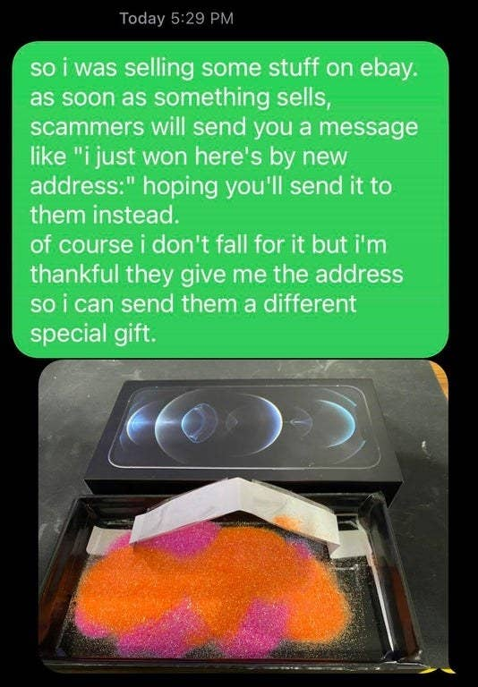 person sending a scammer glitter in the mail