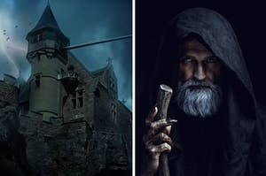 a creepy old castle on the left and an old man in a cloak with a staff on the right