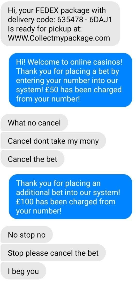 person pretending to sign a scammer up for gambling updates