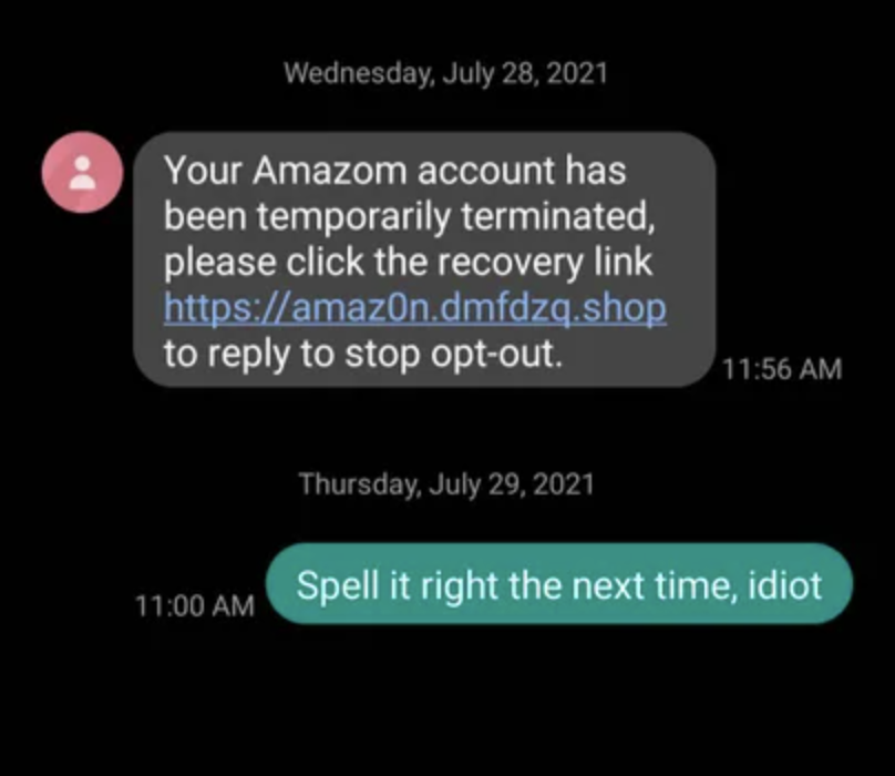 scammer mispelling amazon in their scam