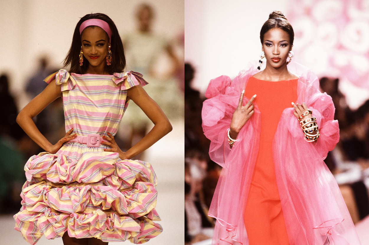 Tyra walked for YSL, and Naomi walked for Valentino
