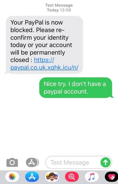 scammer saying someone's paypal account got hacked only they don't have a paypal