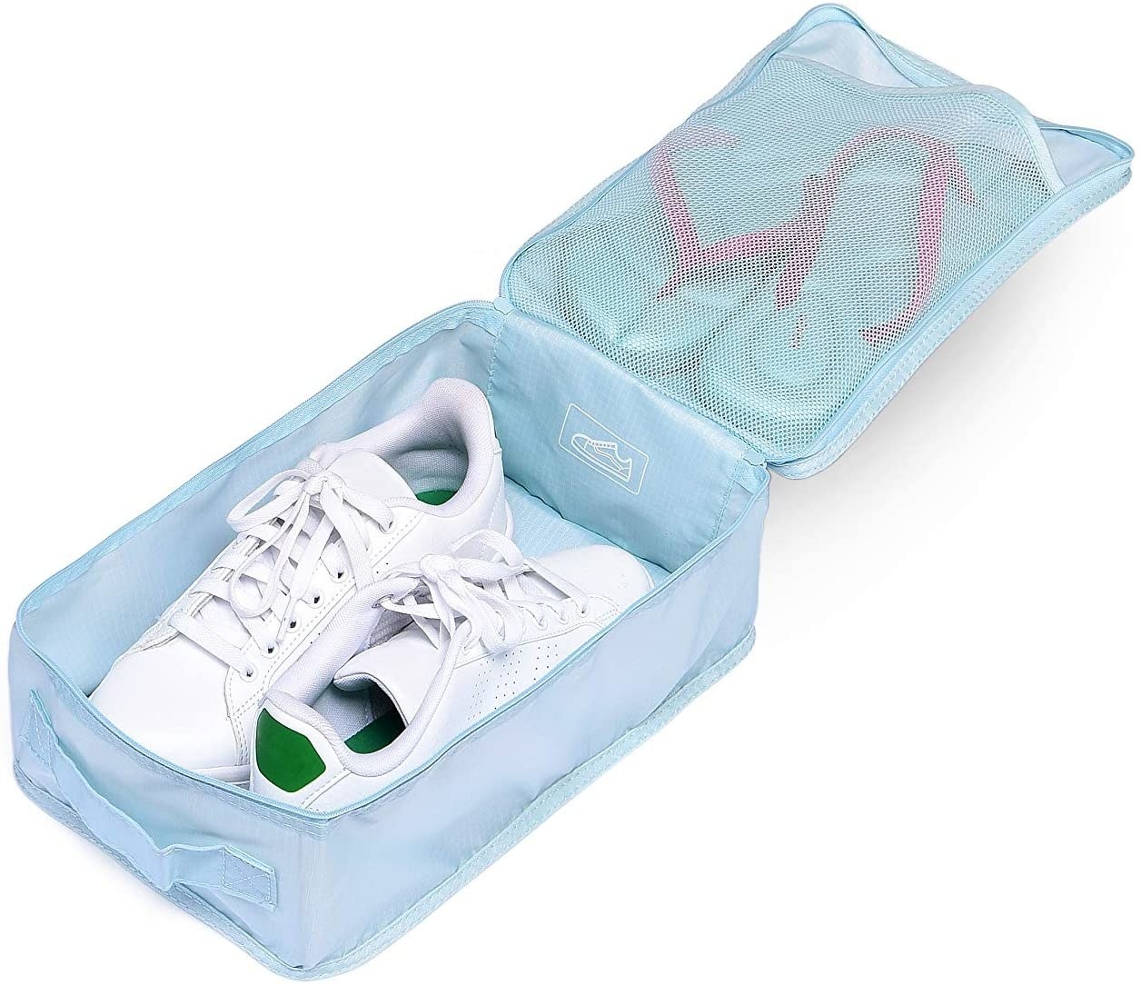 The light blue rectangular shoe bag with a pair of sneakers in the main compartment and sandals in a mesh top one