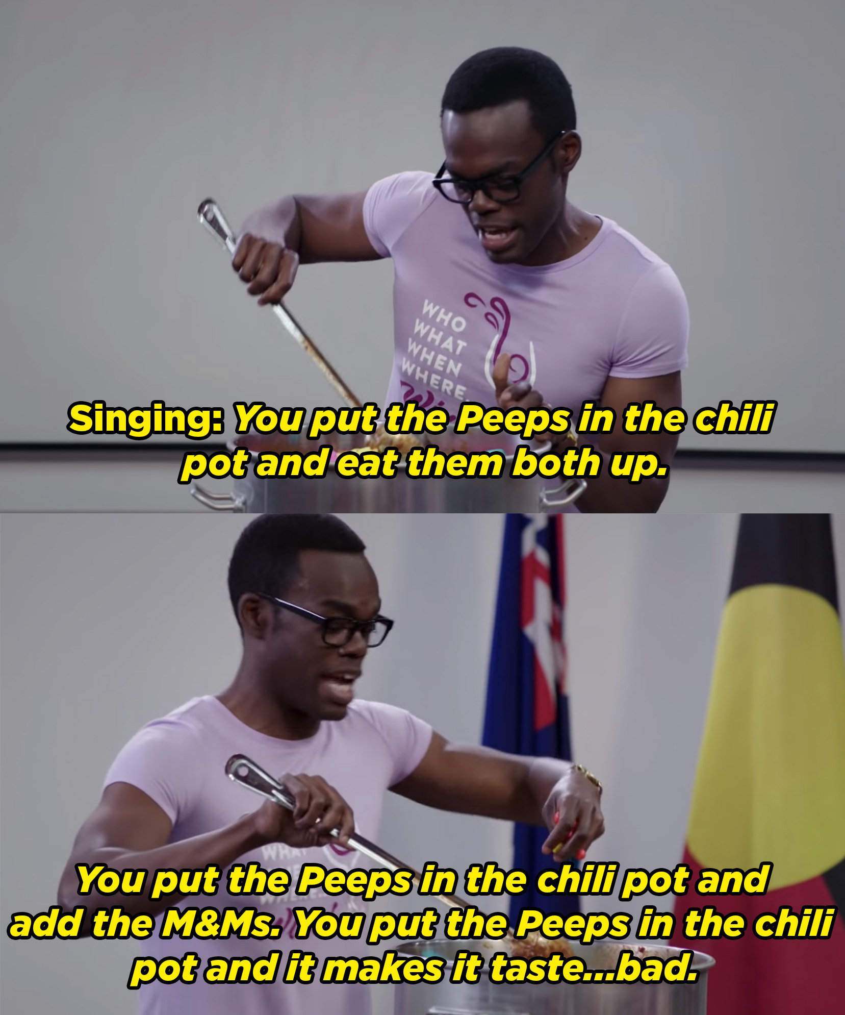 Chidi sings about adding Peeps to his chili pot and then realizes it tastes bad.