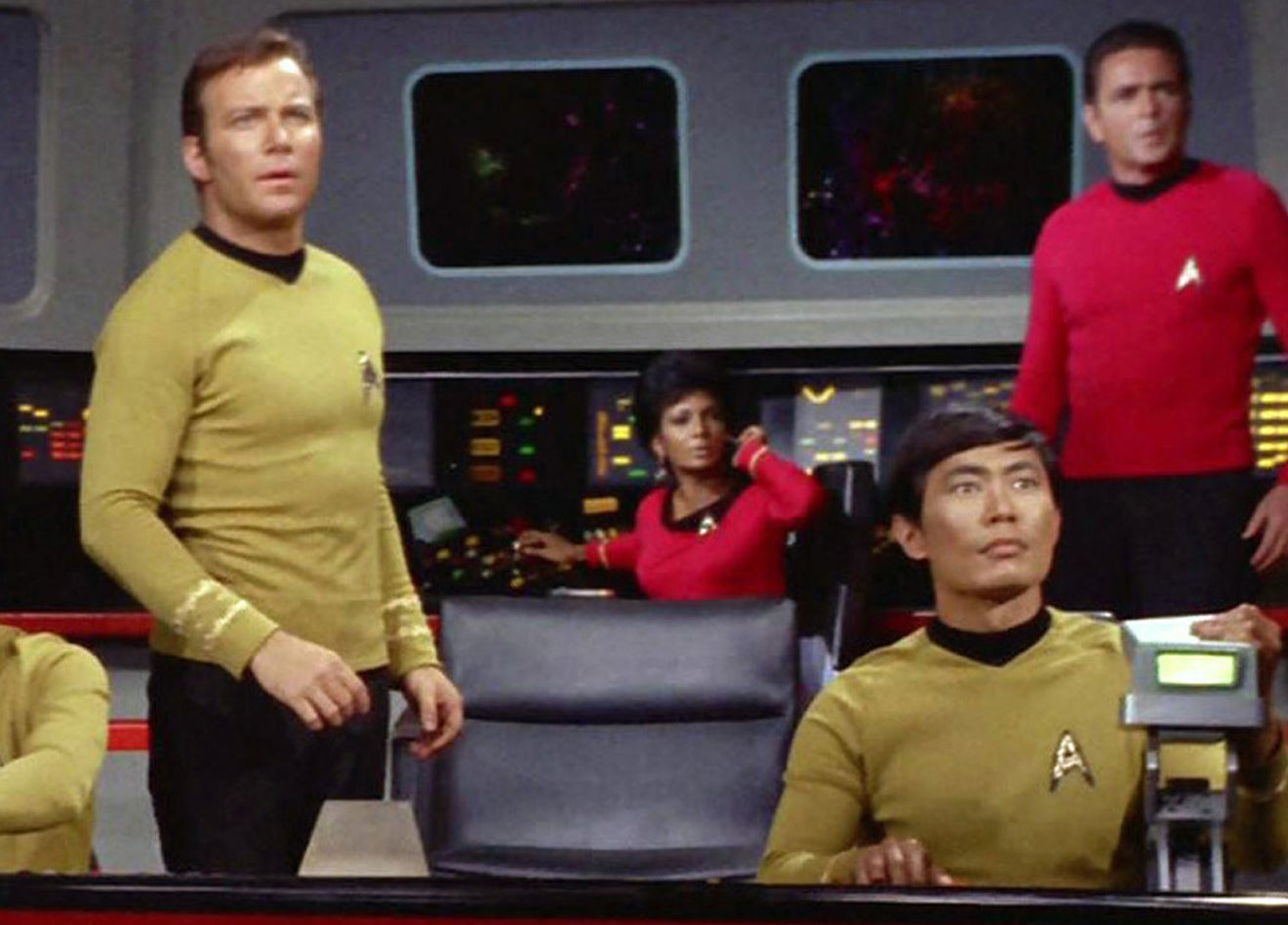 Captain Kirk and Sulu star out the front of the ship