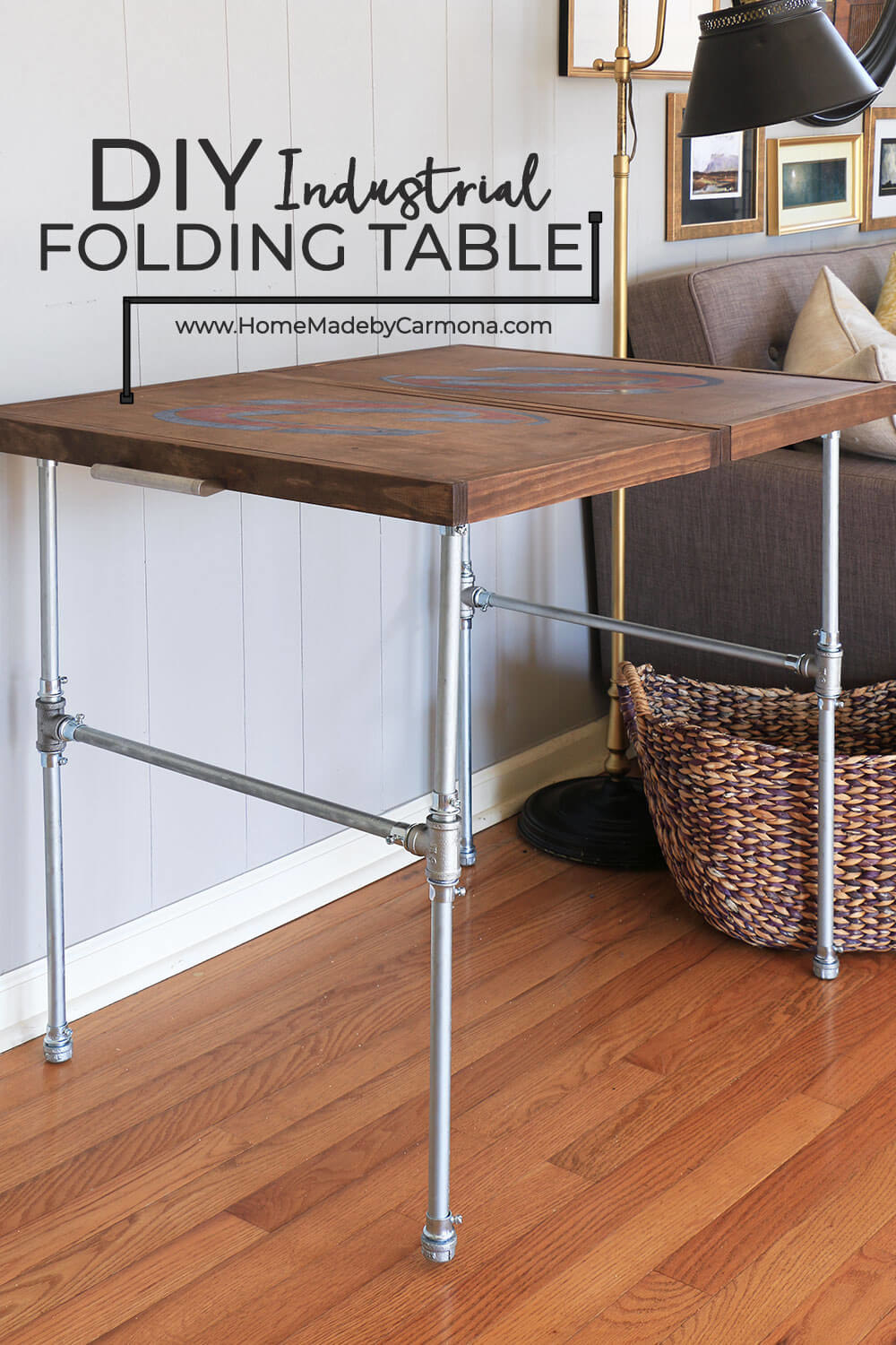 the DIY industrial folding table with a wooden surface and metal legs