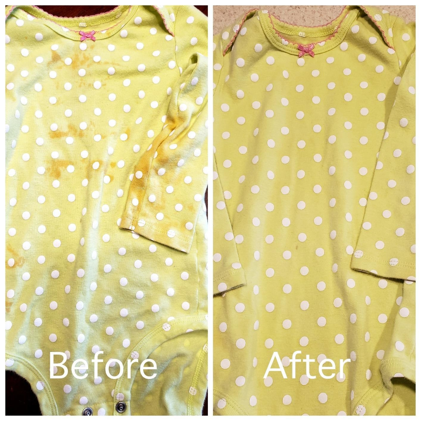 """on the left, a stained baby onesie and text reading """"before"""". On the right, the same onesie without stains and text reading """"after"""""""