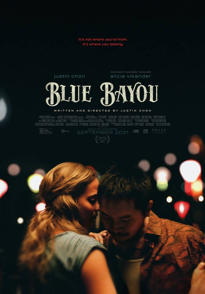 Poster for the film featuring Alicia Vikander and Justin Chon dancing under the lights at night