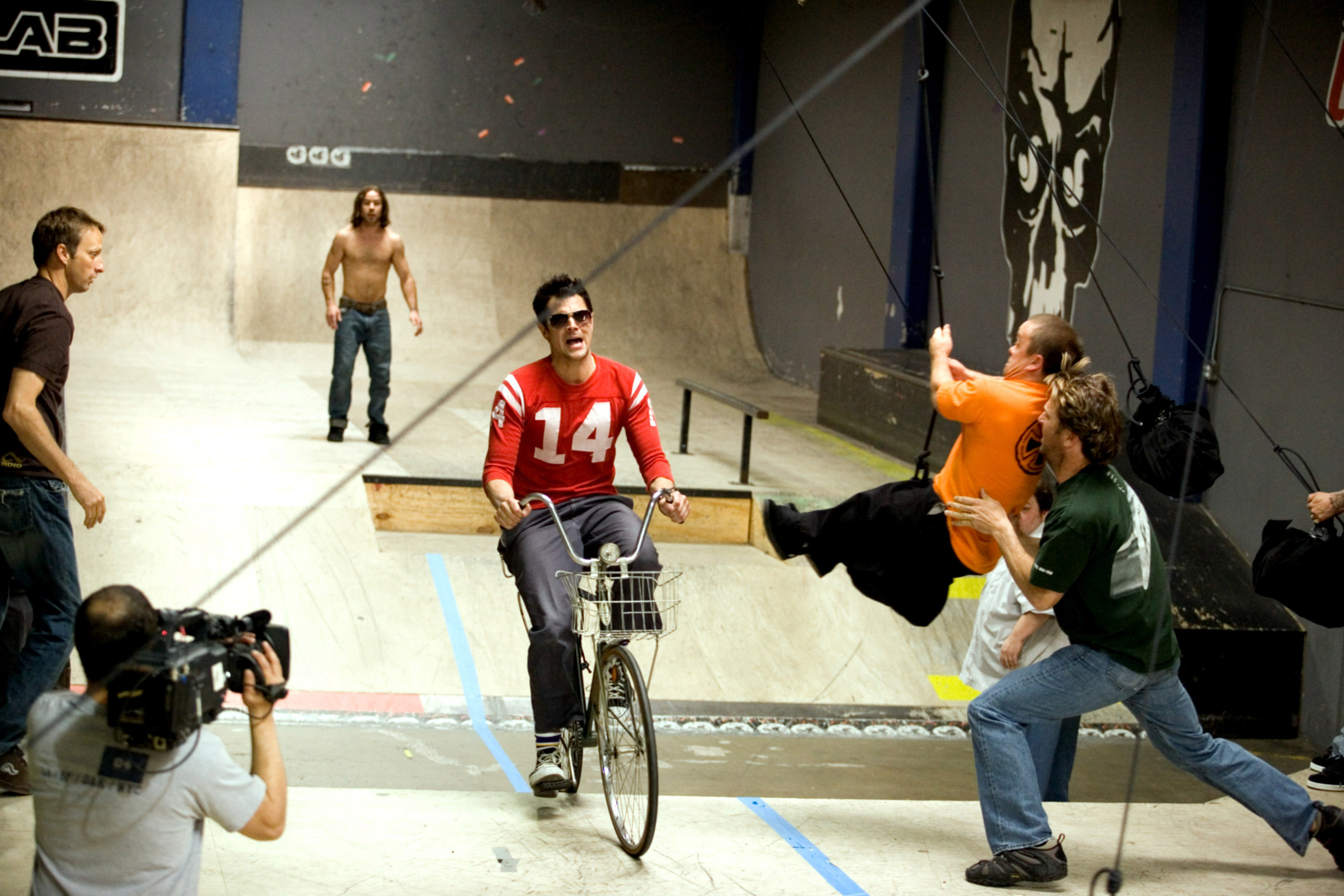 A scene from the second Jackass movie