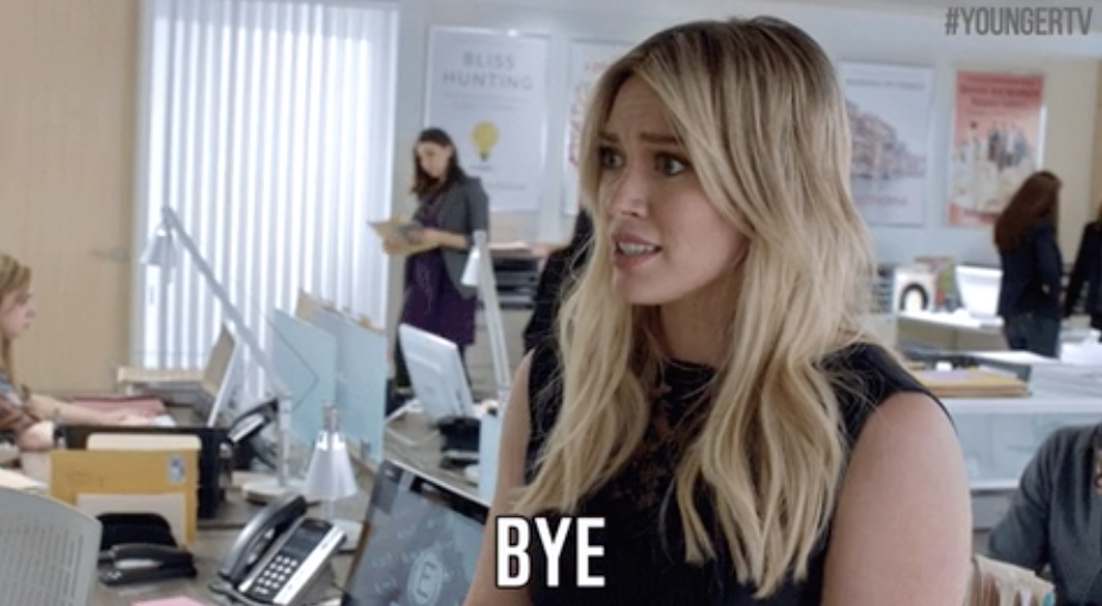 """Hilary Duff in Younger looking concerned and saying, """"bye"""""""