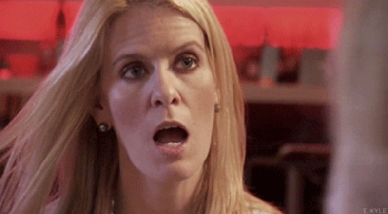 A shocked bravo housewife with her mouth hanging open