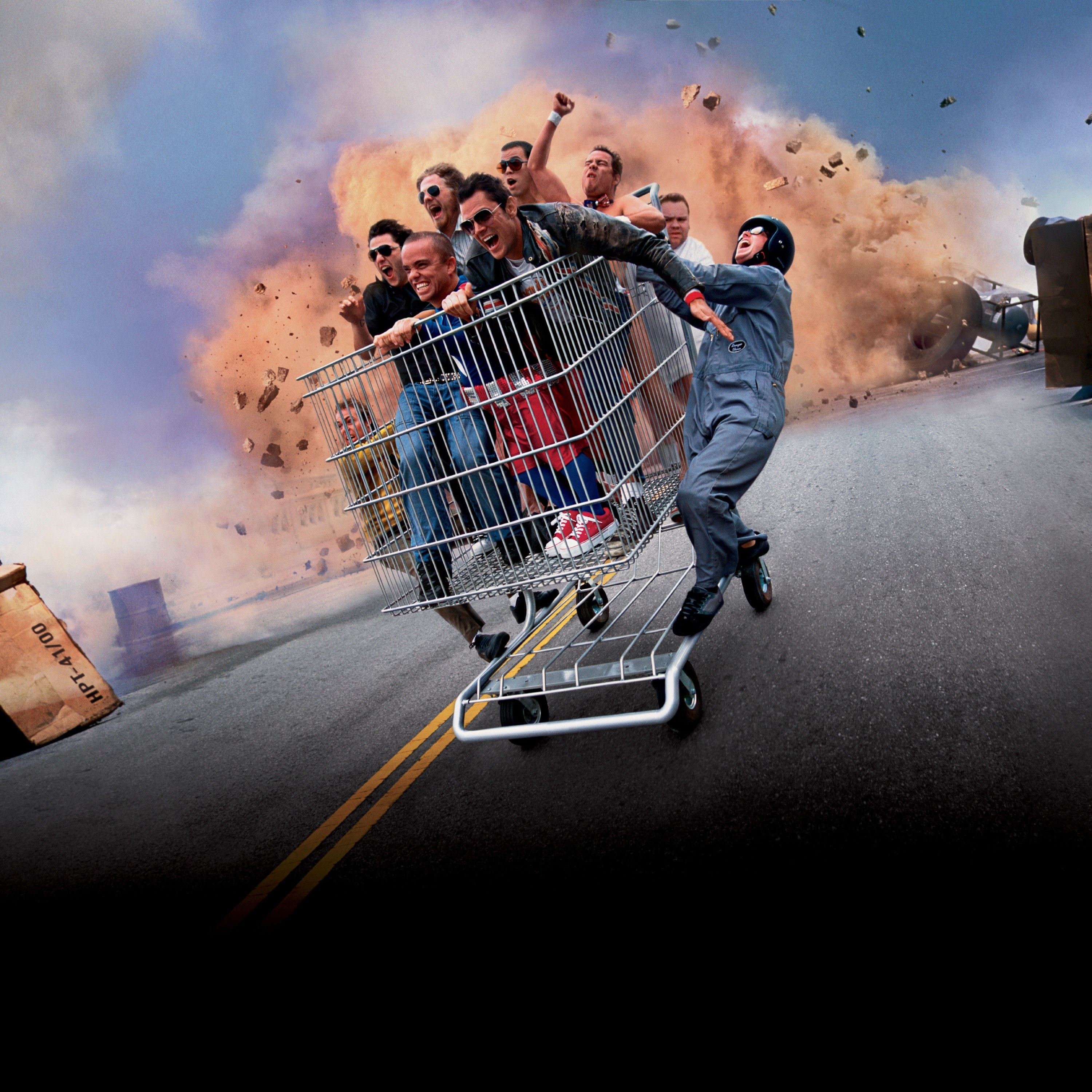 The Jackass crew riding in a shopping cart