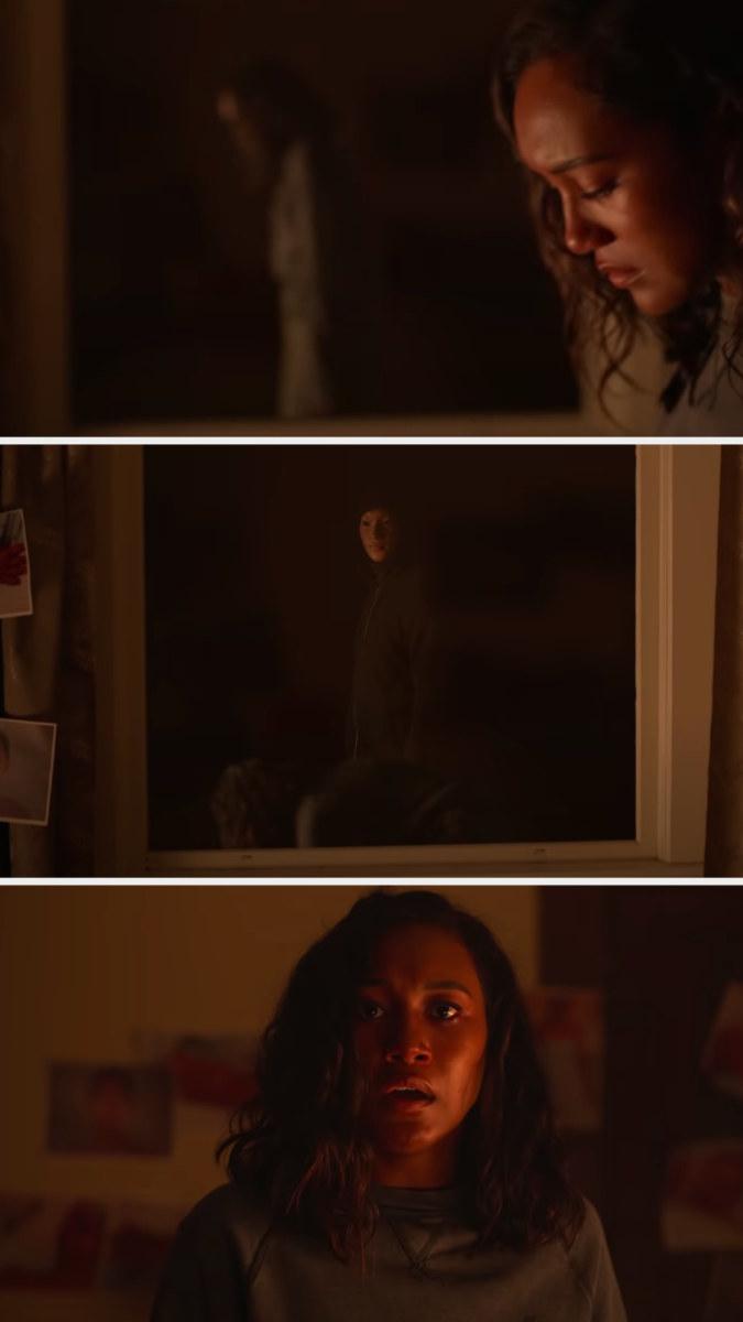 The killer appearing inside of Makani's house