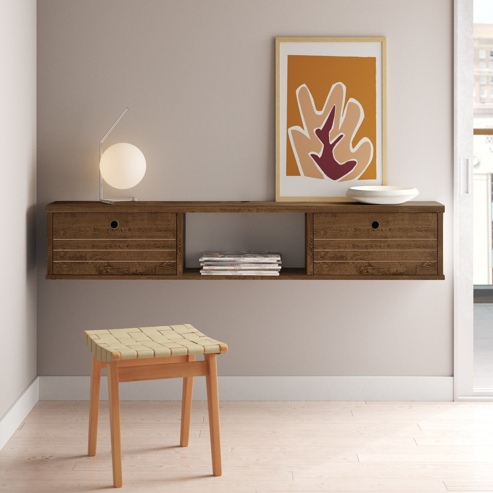 the brown console mounted on a wall