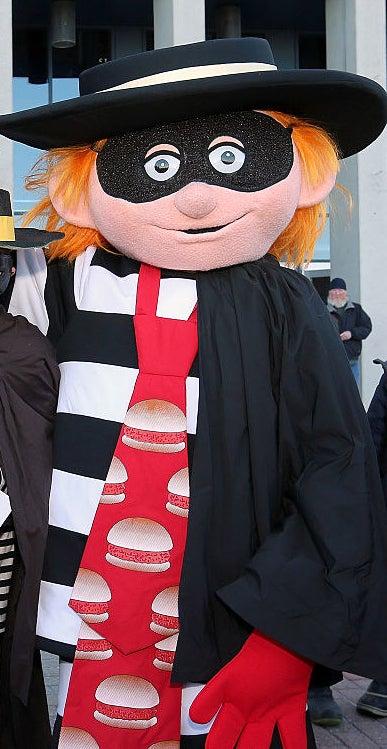 person in Hamburgler costume